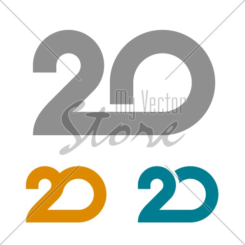 20 linked anniversary number vector