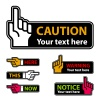 vector warning forefinger and pointing hand labels