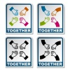 vector together aiming hands sticker