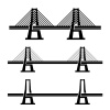 vector modern cable suspension bridge black symbol