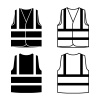reflective safety vest black white vector