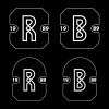 R and B simple letter badge vector
