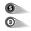 fast money bitcoin motion line coin vector