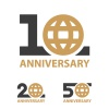 10 20 50 years anniversary globe number vector